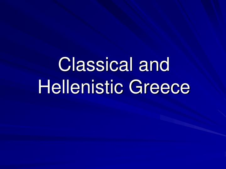 classical and hellenistic greece n.