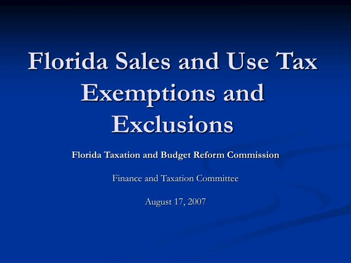 florida sales and use tax exemptions and exclusions n.