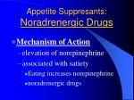 appetite suppresants noradrenergic drugs