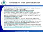 references for health benefits estimation
