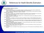 references for health benefits estimation1