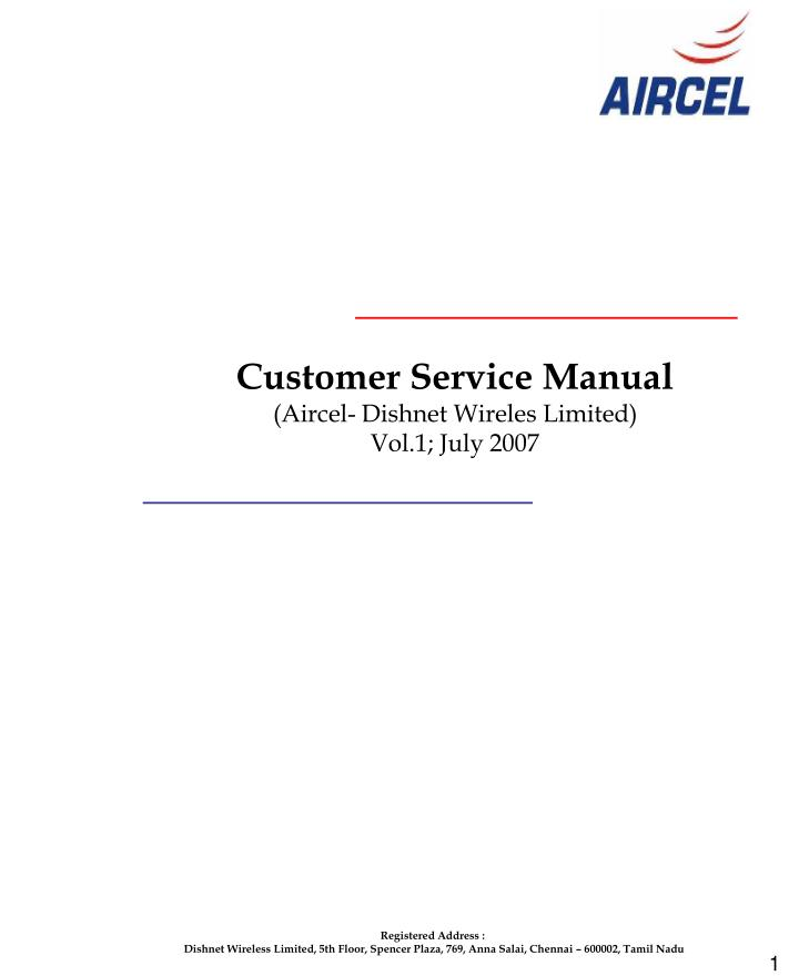 customer service manual aircel dishnet wireles limited vol 1 july 2007 n.