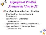 examples of pre post assessments used in jl