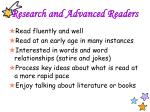 research and advanced readers