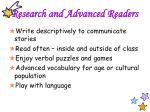 research and advanced readers1