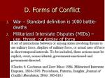 d forms of conflict