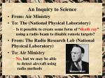 an inquiry to science