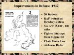 improvements in defense 1939