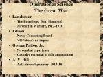 operational science the great war