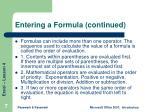 entering a formula continued
