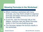 showing formulas in the worksheet
