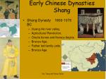 early chinese dynasties shang