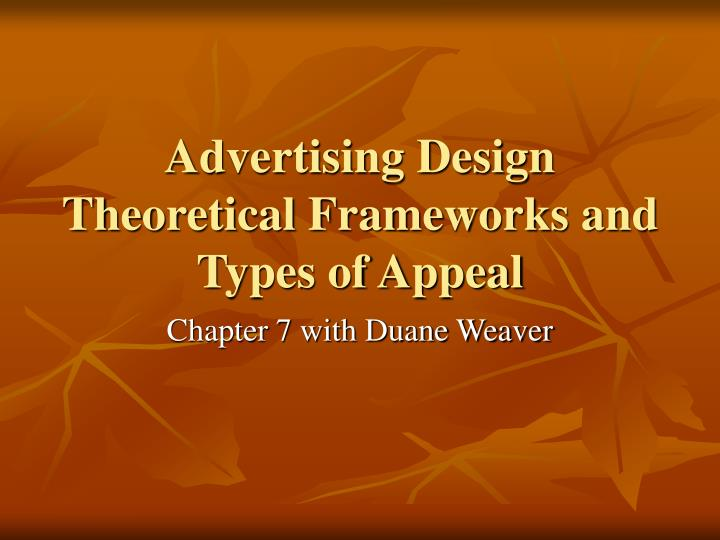 advertising design theoretical frameworks and types of appeal n.