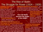 the rise of stalin the struggle for power 1924 1929
