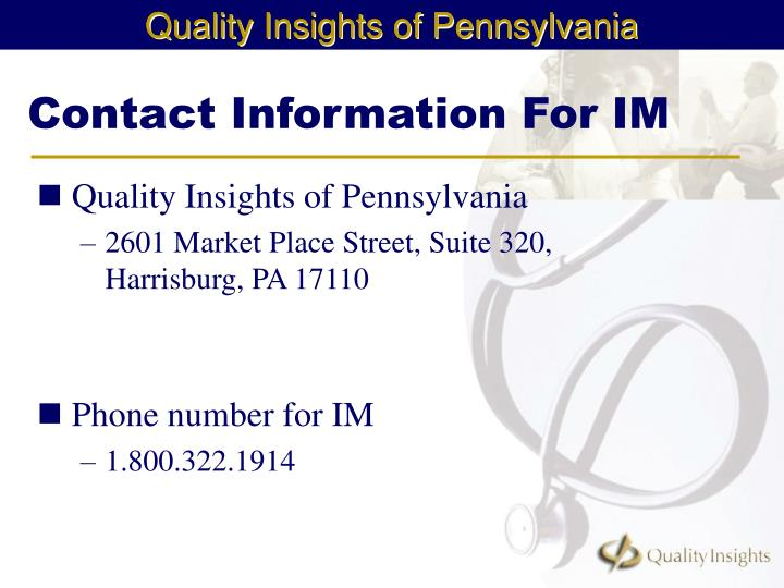 Contact Information For IM