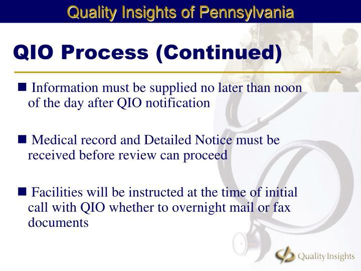 QIO Process (Continued)