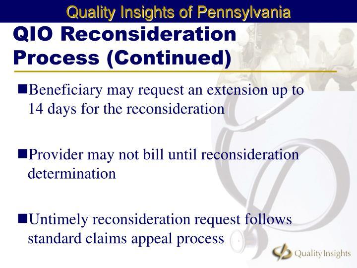 QIO Reconsideration Process (Continued)