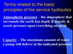 terms related to the basic principles of fire service hydraulics