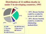 distribution of 12 million deaths in under 5 in developing countries 1993