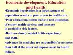 economic development education and health