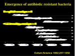 emergence of antibiotic resistant bacteria