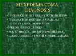 myxedema coma diagnosis