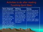 activities to do after reading touching spirit bear