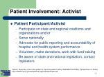 patient involvement activist