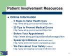 patient involvement resources i