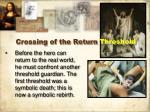 crossing of the return threshold