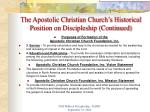 the apostolic christian church s historical position on discipleship continued