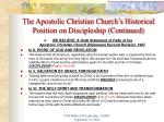 the apostolic christian church s historical position on discipleship continued1