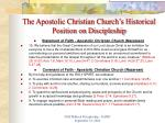 the apostolic christian church s historical position on discipleship