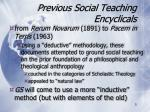 previous social teaching encyclicals