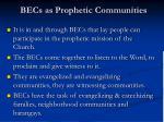 becs as prophetic communities
