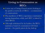 living in communion as becs