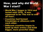 how and why did world war i start