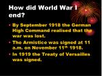 how did world war i end