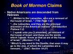 book of mormon claims