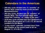 calendars in the americas