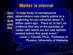 matter is eternal
