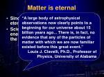matter is eternal