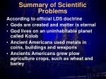summary of scientific problems