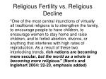 religious fertility vs religious decline
