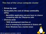 the rise of the linux compute cluster