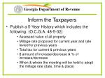 inform the taxpayers