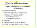 other exemptions or preferential assessments