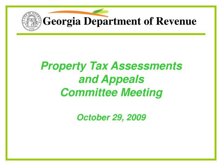 property tax assessments and appeals committee meeting october 29 2009 n.