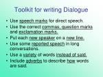 toolkit for writing dialogue