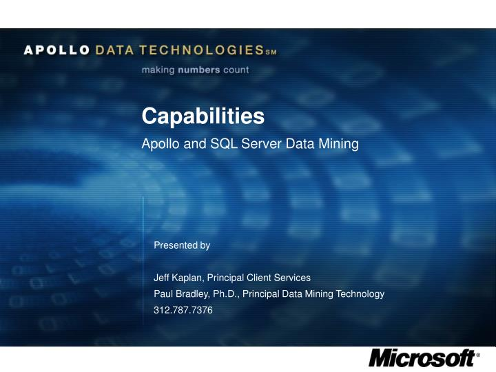 capabilities apollo and sql server data mining n.
